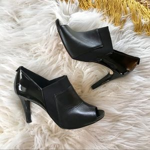 Anne Klein Ottone Peep Toe Leather Ankle Booties